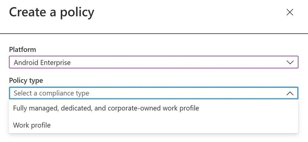 Create a policy - Device compliance policy