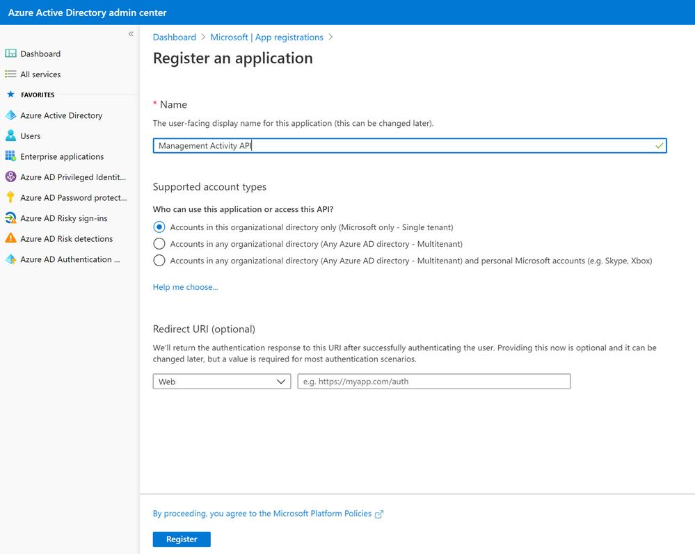 Figure 2: Registering an Azure AD application