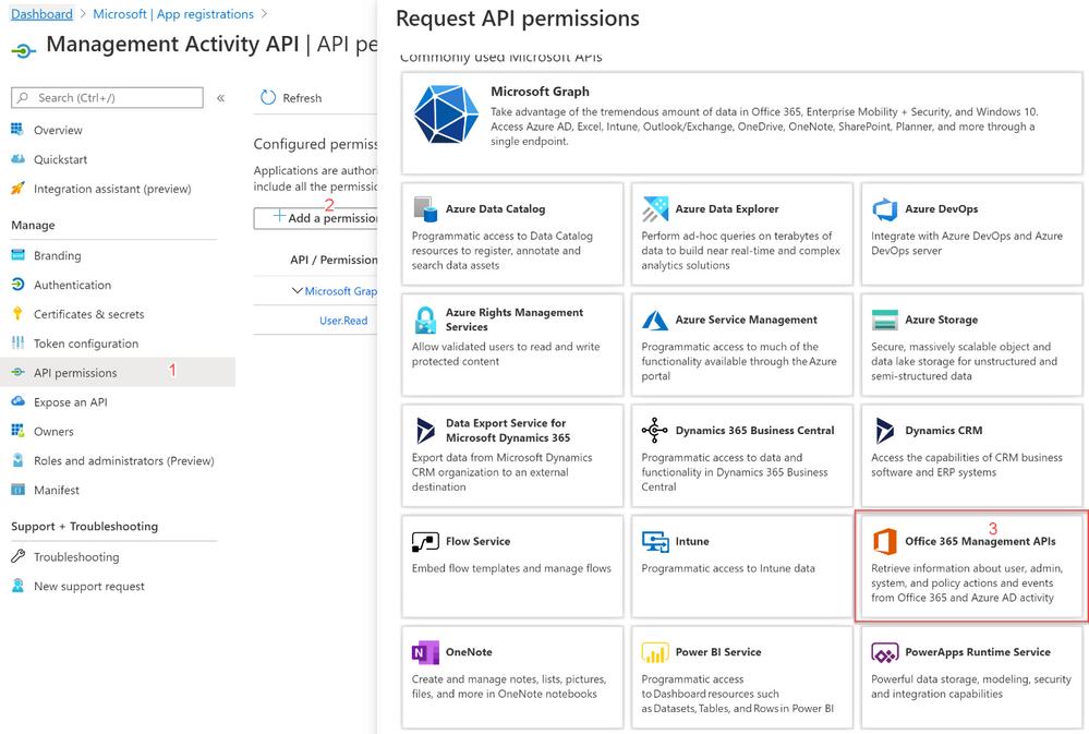 Figure 3: Requesting API permissions