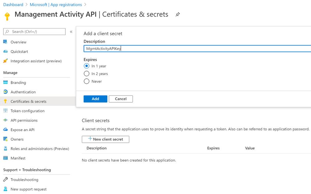 Figure 5: Certificates & secrets