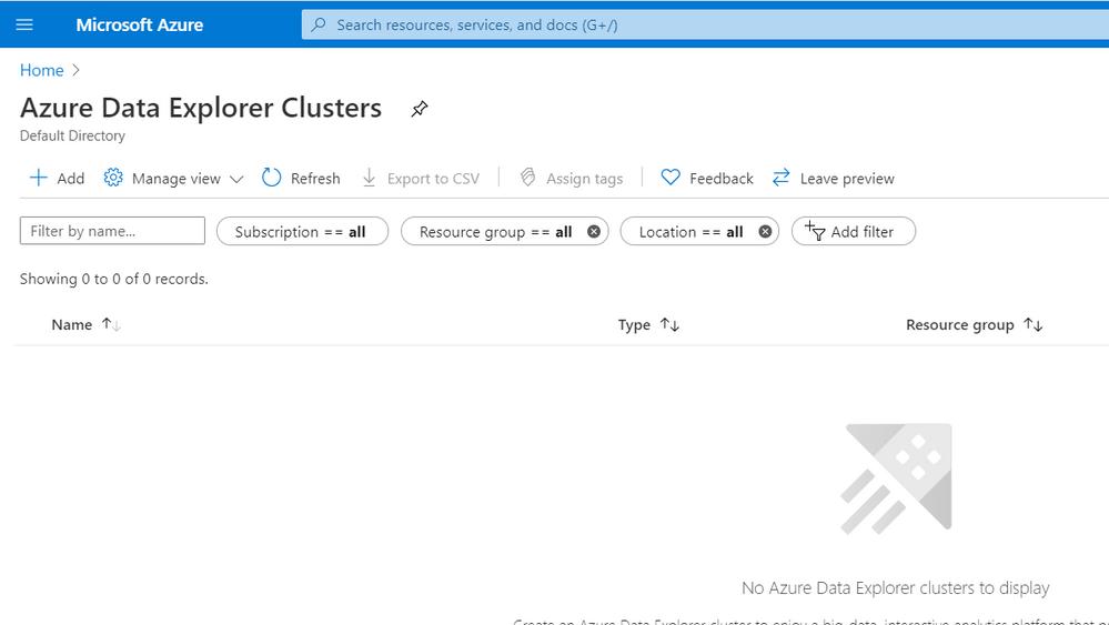 Figure 12: Azure Data Explorer Clusters