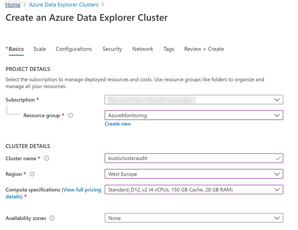 Figure 13: Create an Azure Data Explorer Cluster