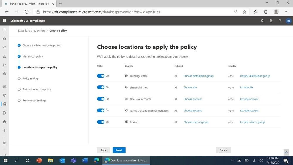 Figure 2: DLP policy location choices in the Microsoft 365 Compliance Center