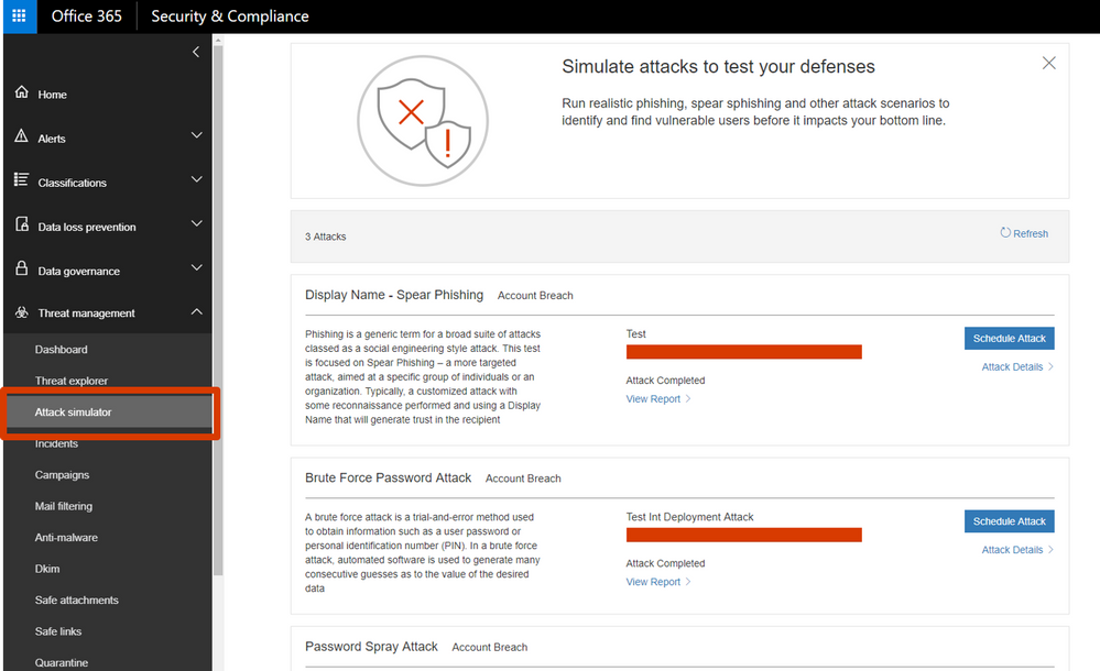 Attack Simulator in Office 365 Threat Intelligence