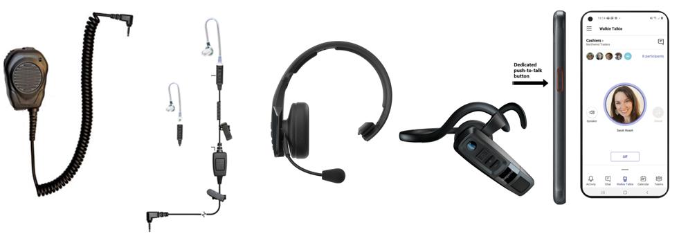 Devices from left to right: Klein Valor, Klein Triumph, BlueParrott B450-XT MS, BlueParrott C300-XT MS, Samsung XCover Pro