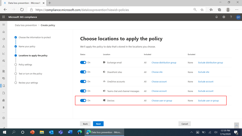 Figure 1: DLP policy location choices (including 'Devices') in the Microsoft 365 compliance center