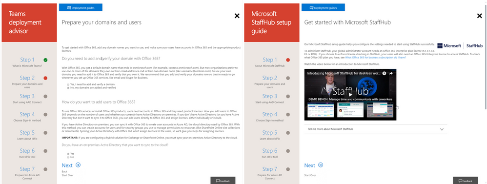 The setup guides provide step by step and contextual guidance to onboard, in this example to Microsoft Teams and StaffHub
