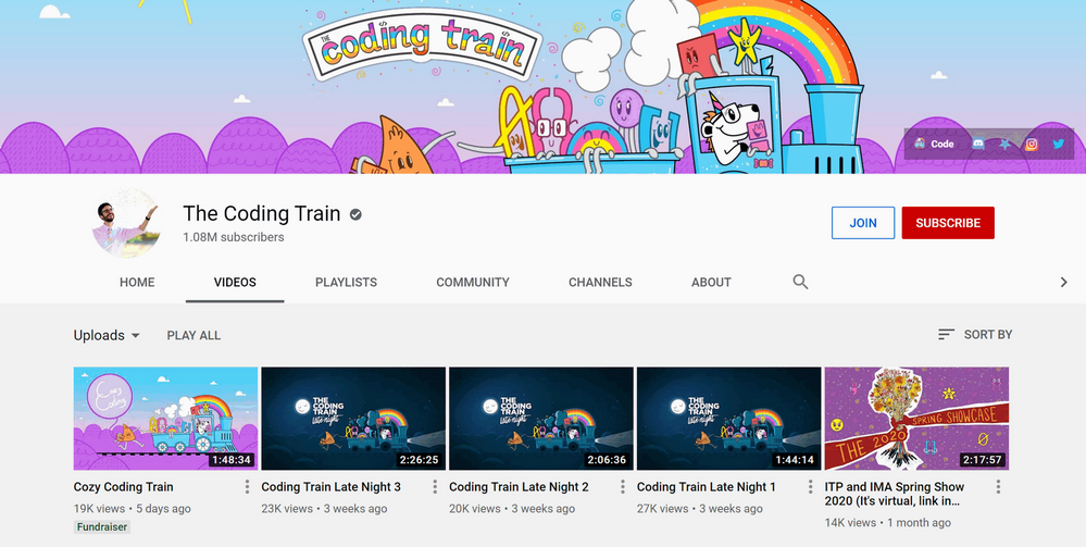 The Coding Train channel on YouTube