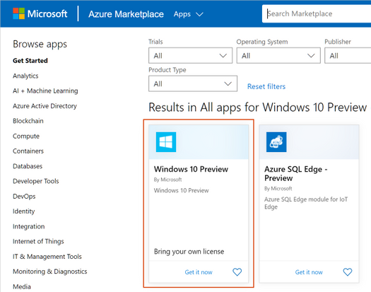 Windows 10 Preview in the Azure Marketplace