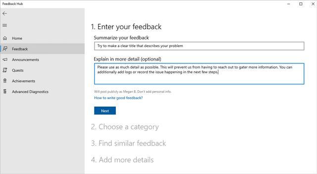 Screenshot of feedback options in Feedback Hub
