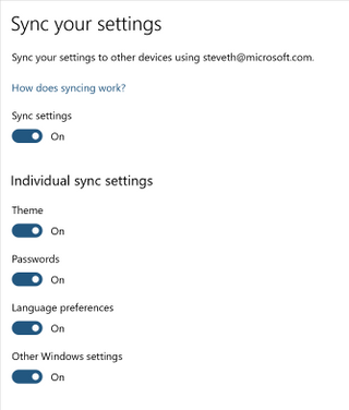 Sync settings options in Windows 10