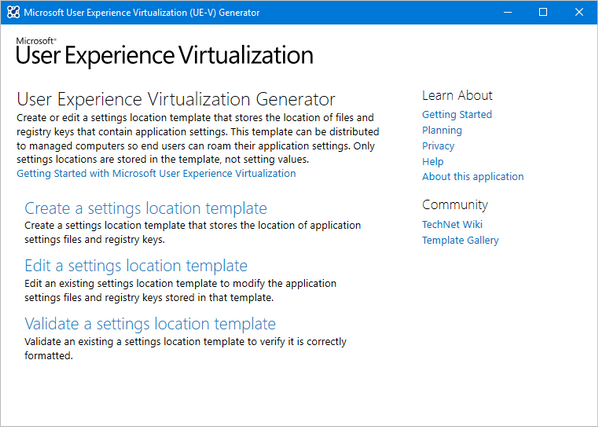 User Experience Virtualization (UE-V) template generator