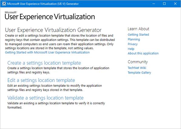 User Experience Virtualization (UE-V) template generator