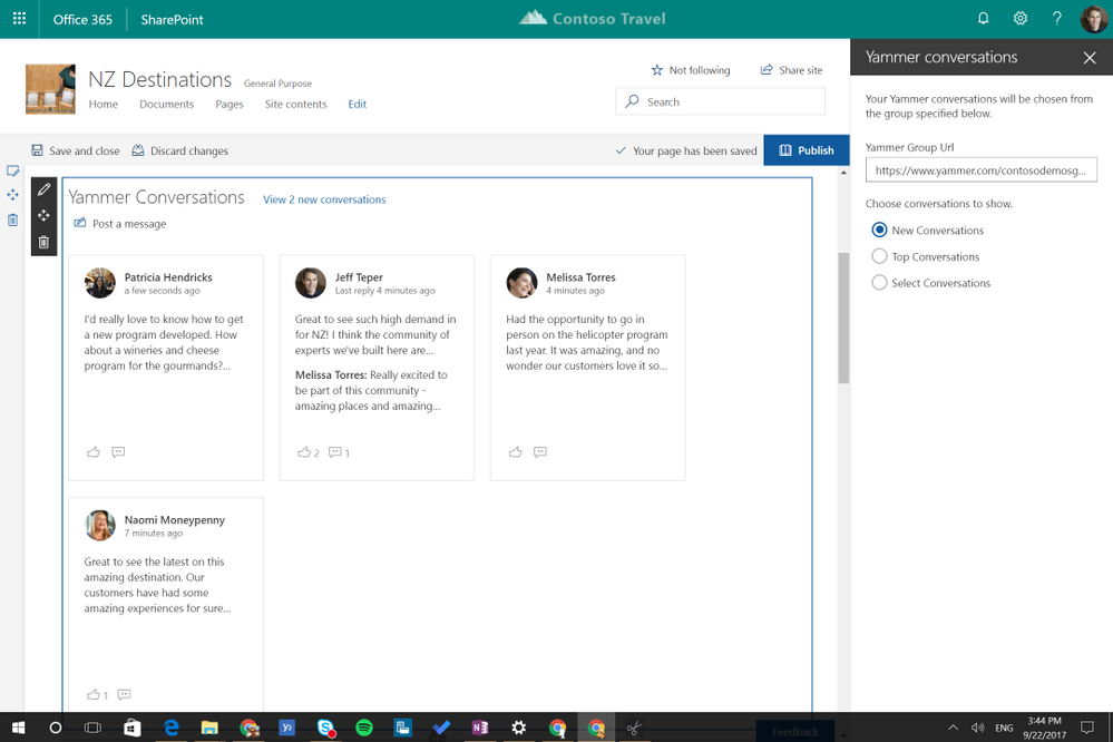 Pick new, top or select Yammer conversations to add to your SharePoint sites