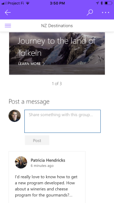 Post to Yammer from the SharePoint mobile app