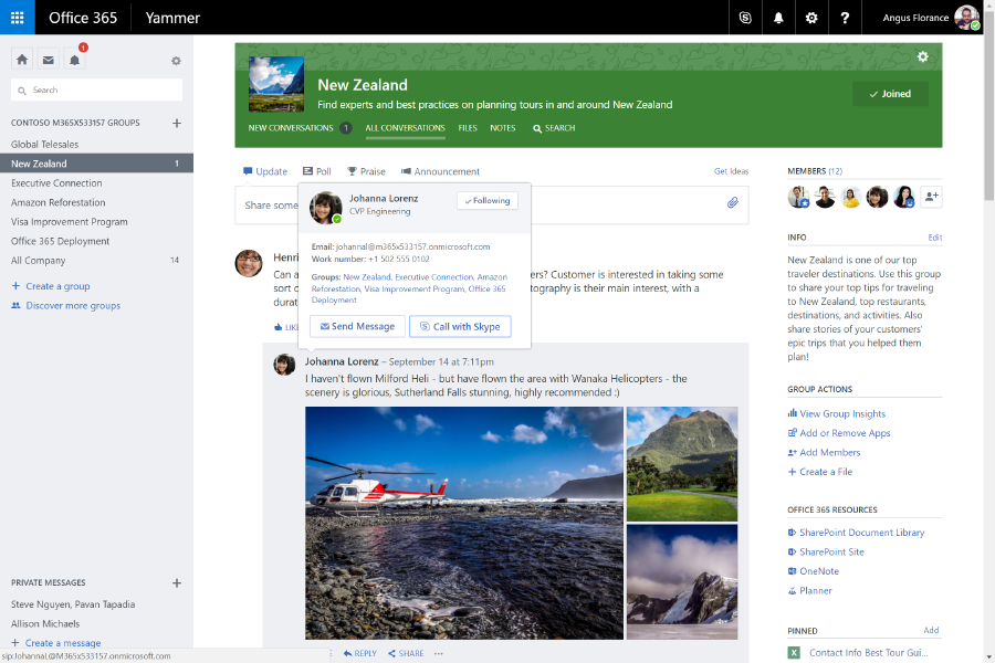 Launch a call right from Yammer