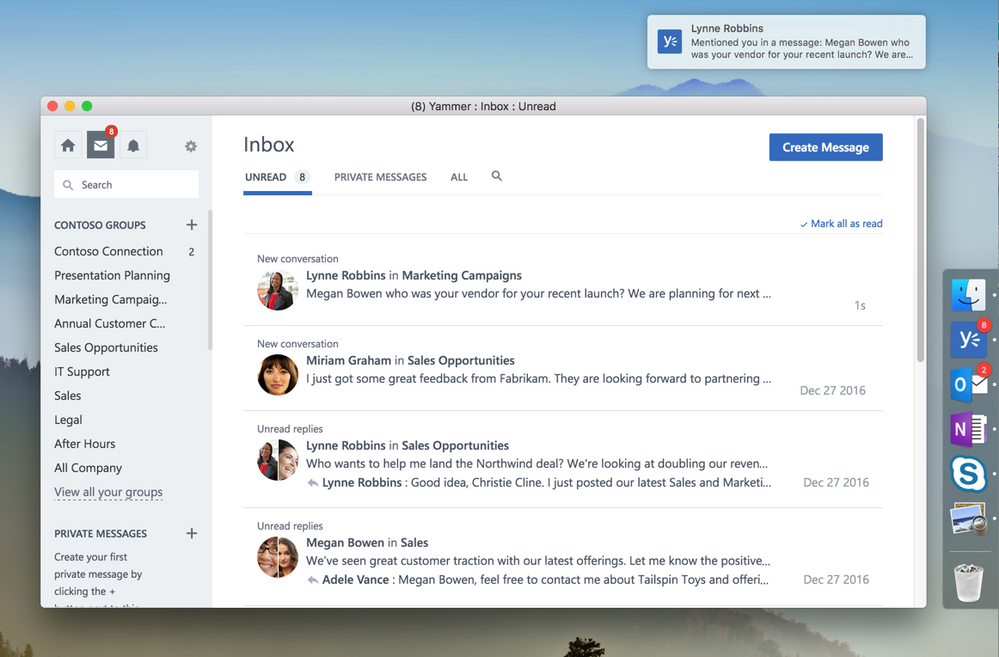 Join Yammer conversations from your desktop