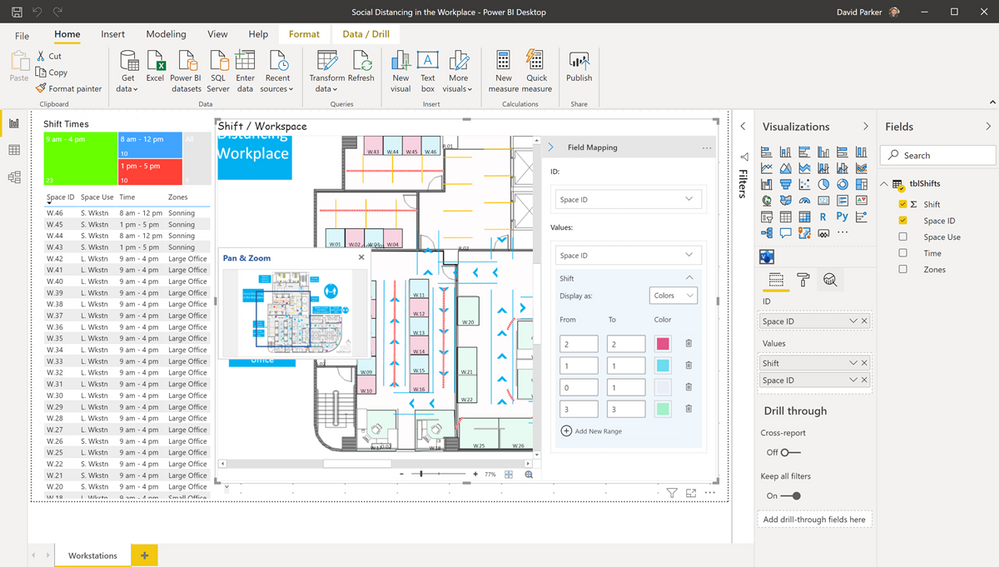 Display workplaces and shifts in Power BI