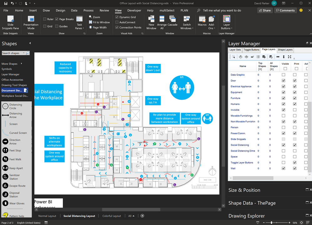 Managing layers in Visio desktop