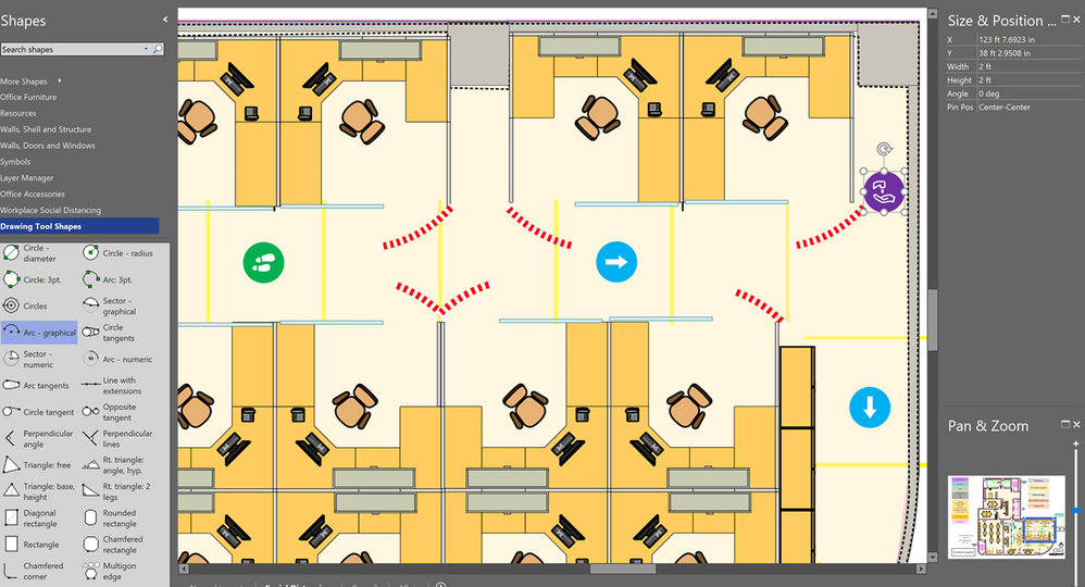 Adjusted layout with social distancing markings
