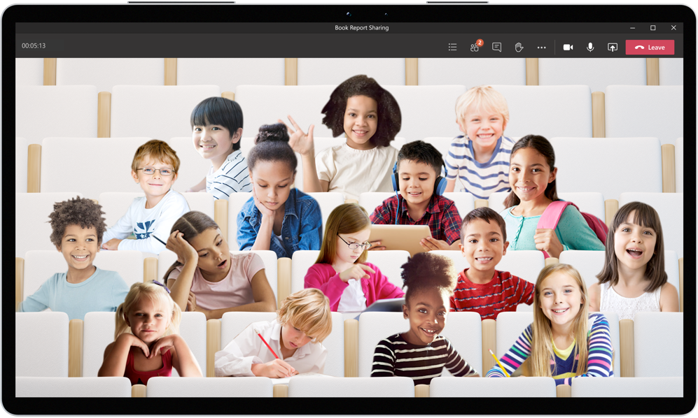 Together Mode makes it easier for students to focus on body language and nonverbal cues.
