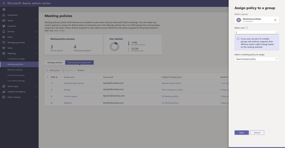 Group policy assignments in the Microsoft Teams Admin Center.