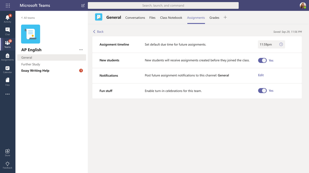 Assignment settings allow educators to set preferences.