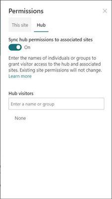 Sync hub permissions to associated sites from the hub Permissions pane.