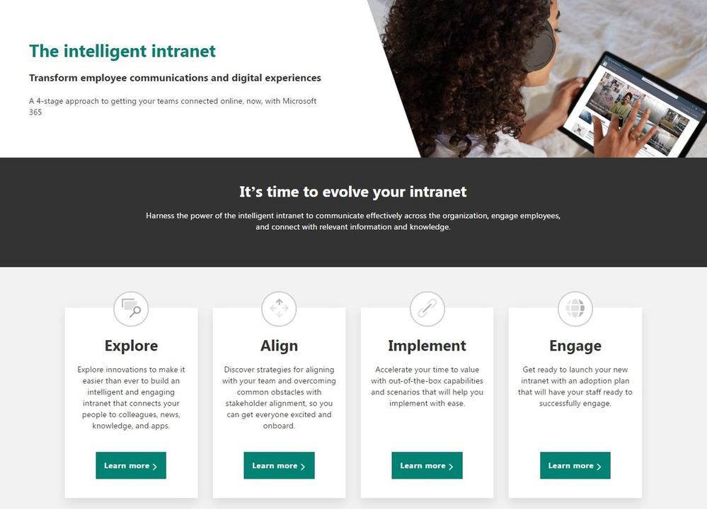 Screenshot of the intelligent intranet resource center (aka.ms/IntelligentIntranet)