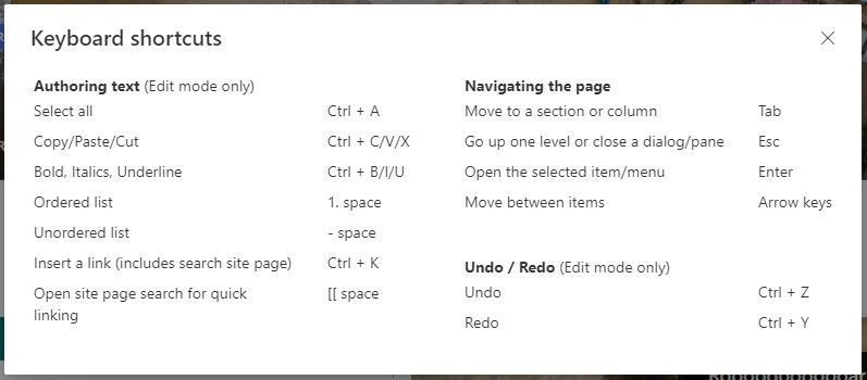 When in page edit mode, click Shift + ? to bring up the page keyboard shortcuts.