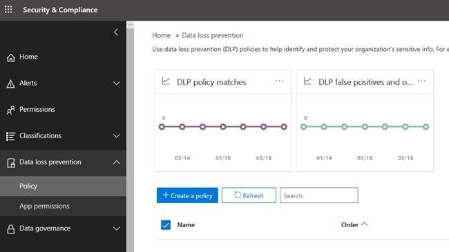 Create and manage DLP policies on the Data loss prevention page in the Microsoft 365 Security & Compliance Center.