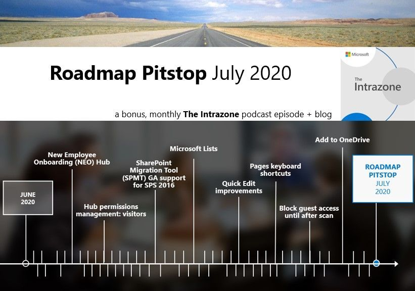 The Intrazone Roadmap Pitstop - July 2020 graphic showing some of the highlighted release features.