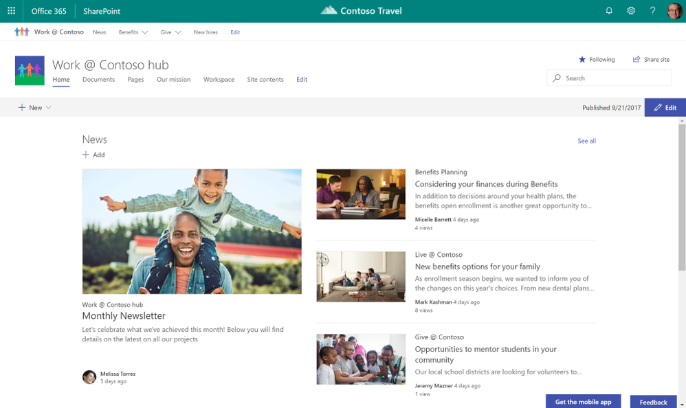 SharePoint hub sites bring together team sites and communication sites together into more centralized locations within your intranet.
