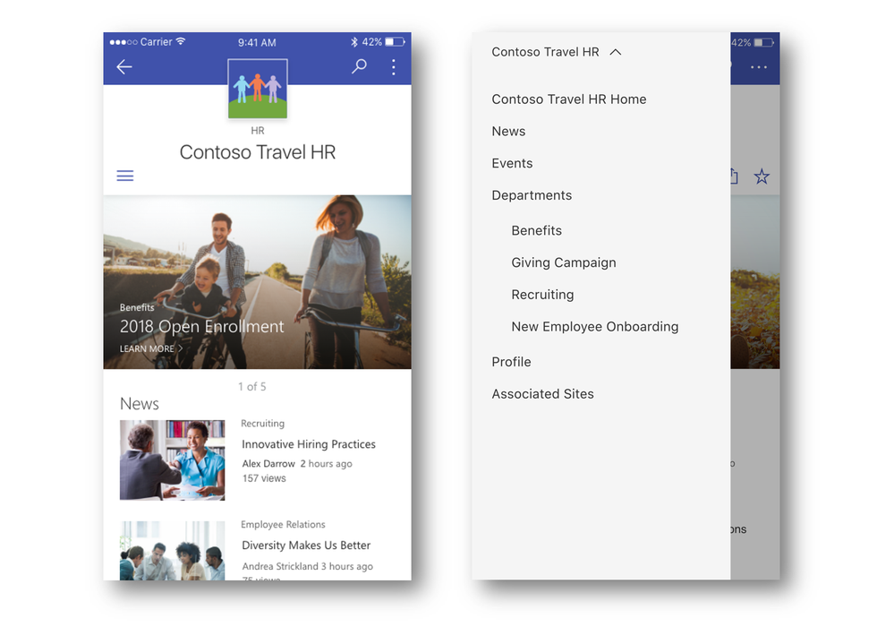 SharePoint hub sites and their associated sites are easy to access and navigate via the SharePoint mobile app.