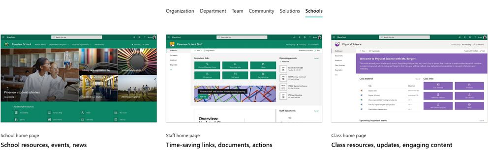 A brand new Schools category in the Microsoft look book, where you can find site templates for our Education customers