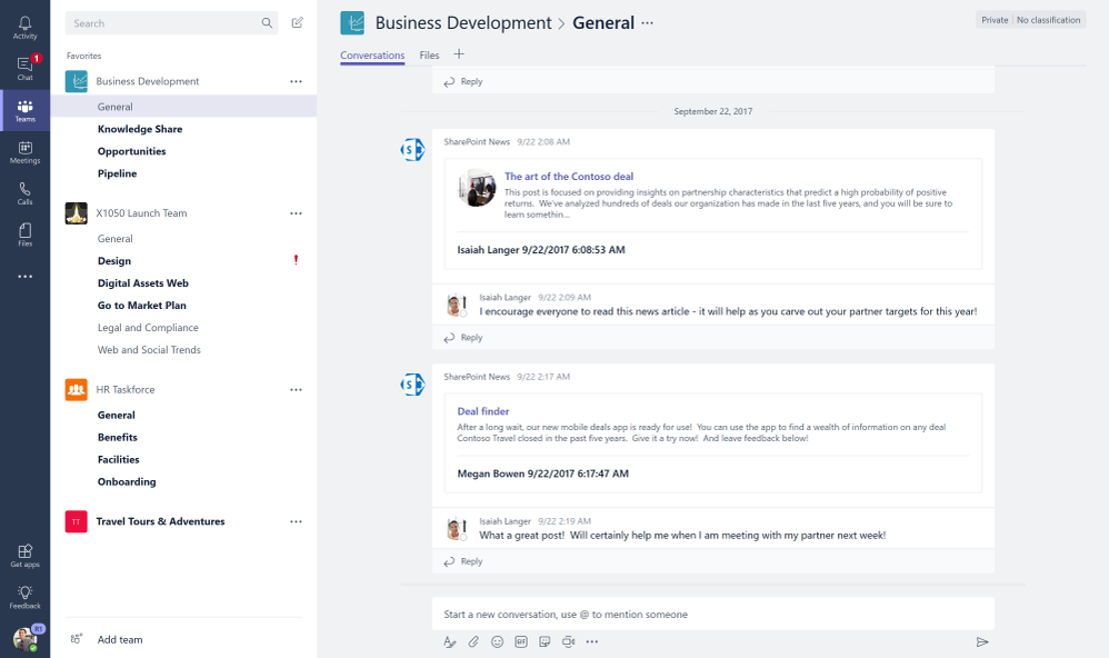 You can connect SharePoint team news to automatically start new chat threads per news item each time one is created from SharePoint team sites.