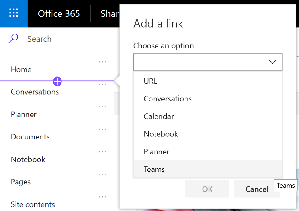 Quickly add left-hand navigation items that link directly to connected Office 365 group apps.