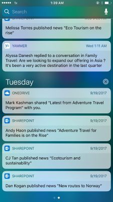 SharePoint news notifications appear in your notification tray and take you right to the full news article within the SharePoint mobile app.