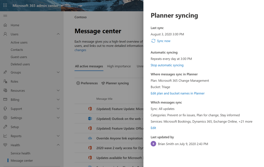 The Message Center pane showing the Planner integration settings