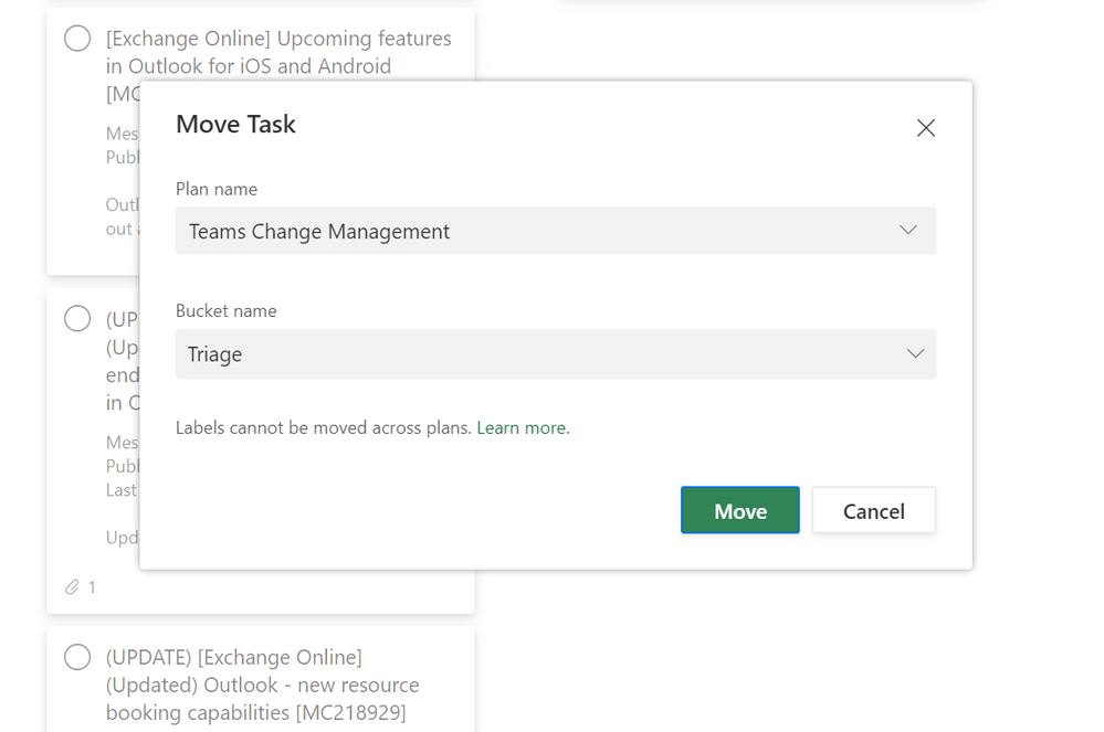 The dialog to choose a plan and bucket when moving tasks