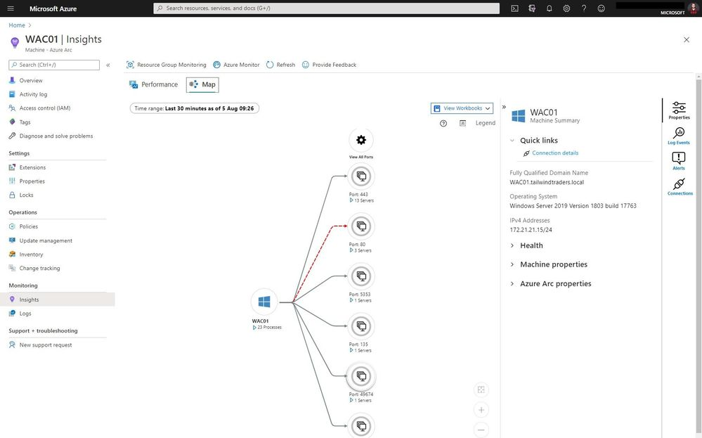 Azure Arc for Servers Monitoring Insights Map