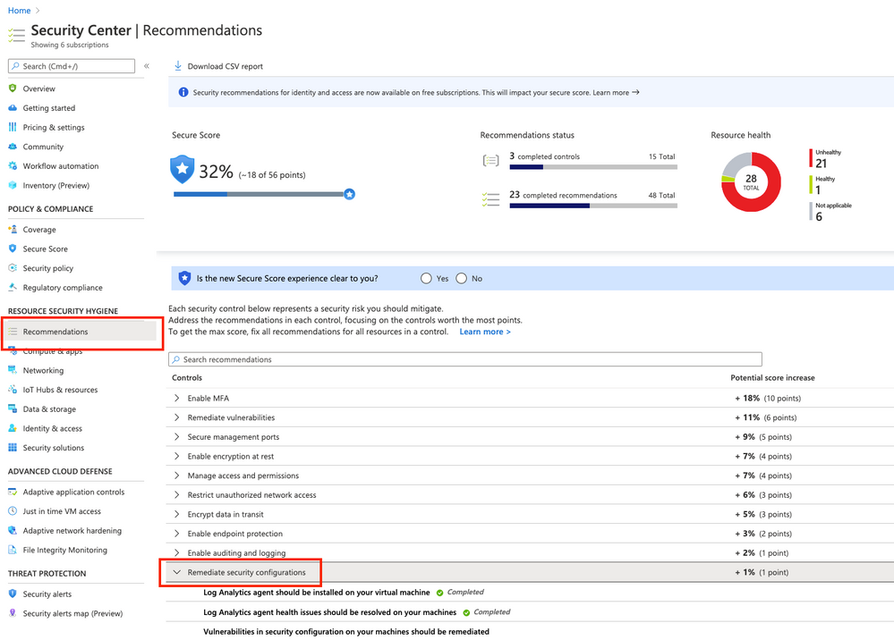Remediate security configurations Security Control in Azure Security Center