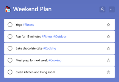 Categorize your tasks with #tags