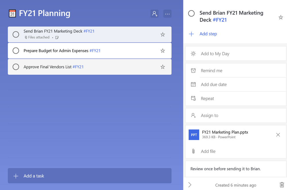 Add notes, attach files to your tasks