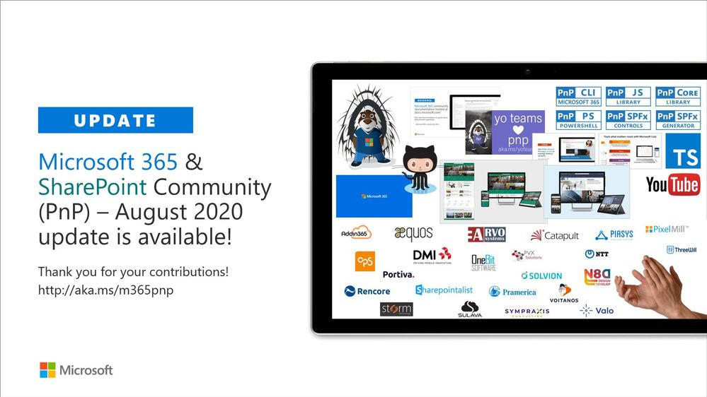 Microsoft 365 & SharePoint Community (PnP) – August 2020 update
