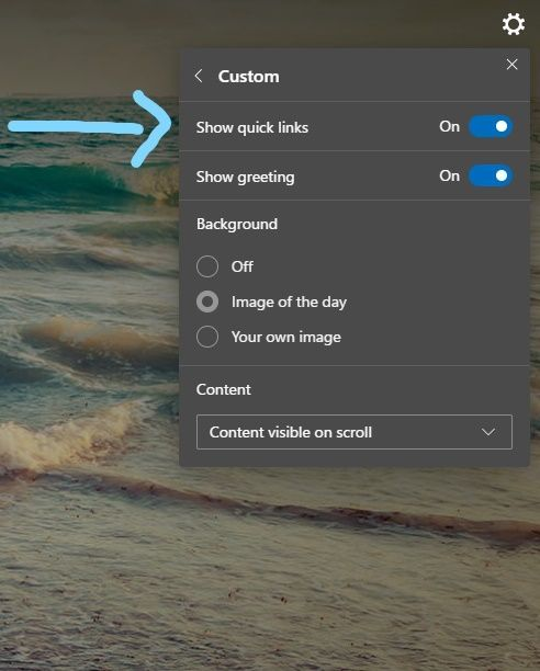 Show quick links option in Custom Settings area in the NTP settings.