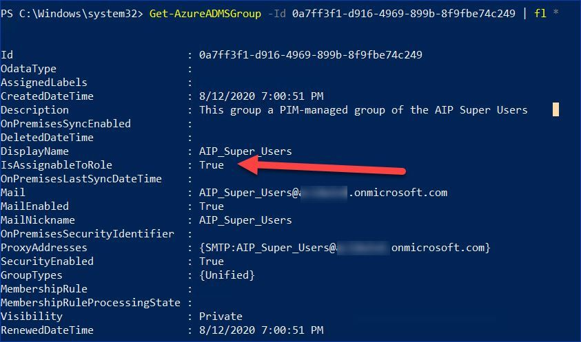 Figure 4: Reviewing properties of the new Microsoft 365 group using PowerShell