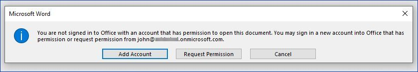 Figure 10: Error indicating that the user does not have access to the protected document