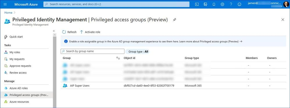 Figure 11: List of the PIM-managed privileged access groups
