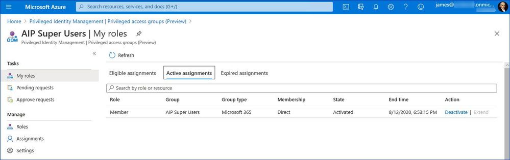 Figure 14: Verifying that the user has the privileged group activated